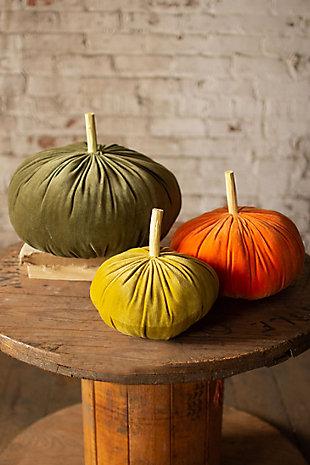 Harvest Set of Three Velvet Pumpkins - One Each Color, , large