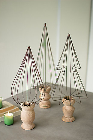 Christmas Set of 3 Wire Christmas Tree Topiaries - Natural Wood Bases, , rollover