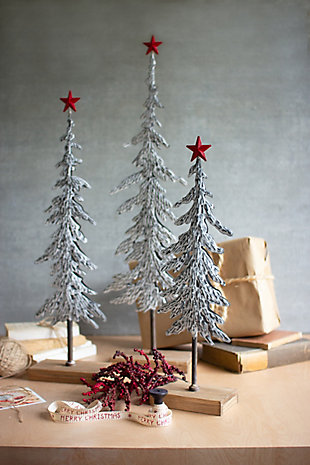 Christmas Set of Three Metal Christmas Trees On Wooden Bases, , rollover