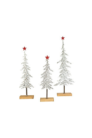 Christmas Set of Three Metal Christmas Trees On Wooden Bases, , large