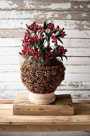 Christmas Pinecone Urn with Turned Natural Wood Base - Tall, , rollover