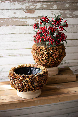 Christmas Pinecone Urn with Turned Natural Wood Base - Tall, , large