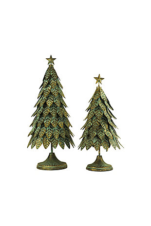 Christmas Set of Two Antique Brass Topiaries with Leaves And Star, , large