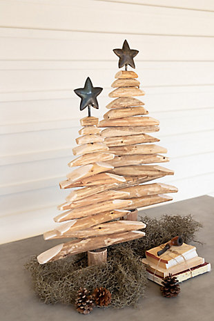 Christmas Set of Two Recycled Wood Spinner Trees with Metal Stars, , rollover