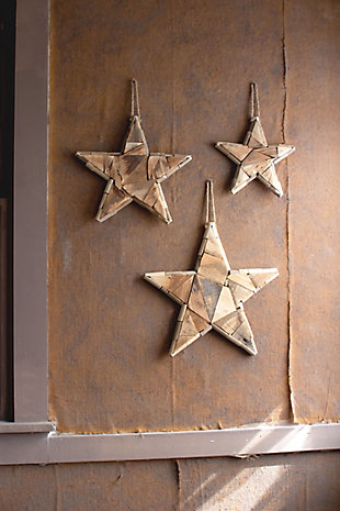 Christmas Set of Three Recycled Wood Christmas Stars, , rollover