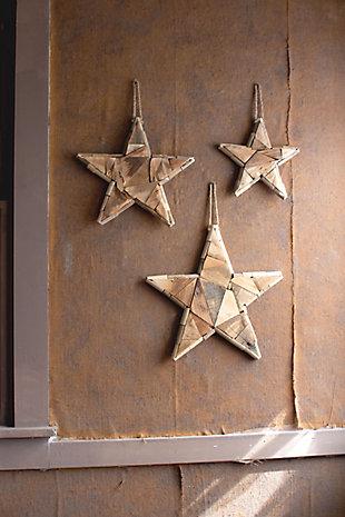 Christmas Set of Three Recycled Wood Christmas Stars, , large
