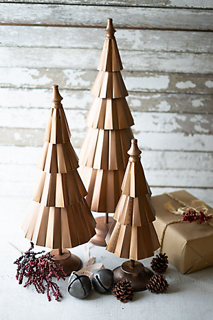 Christmas Set of Three Copper Finish Christmas Trees, , rollover