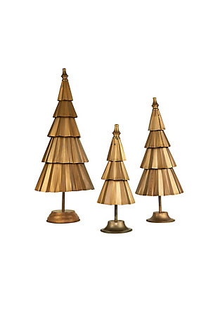 Christmas Set of Three Copper Finish Christmas Trees, , large