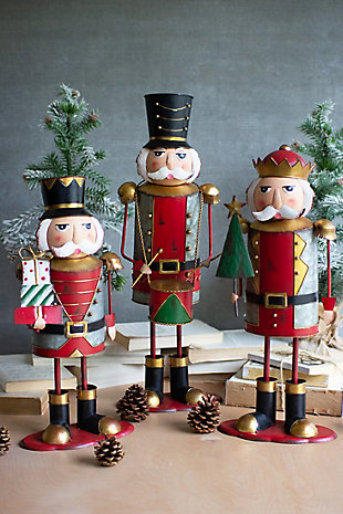 Christmas Set of Three Painted Metal Nutcrackers - One Each Design, , large