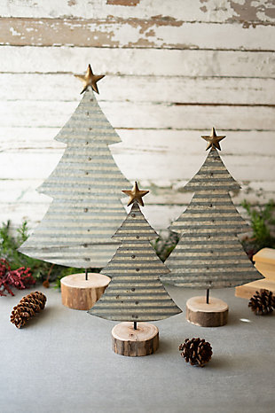 Christmas Set/3 Corrugated Galvanized Christmas Trees On Wood Bases, , rollover