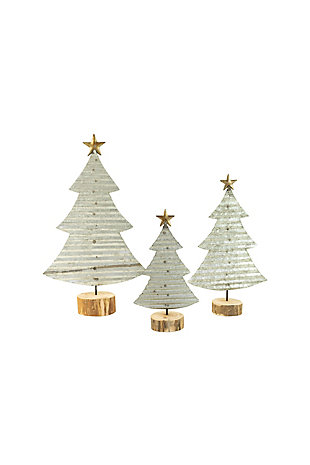 Christmas Set/3 Corrugated Galvanized Christmas Trees On Wood Bases, , large