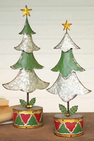 Christmas Set of Two Painted Metal Christmas Trees, , rollover