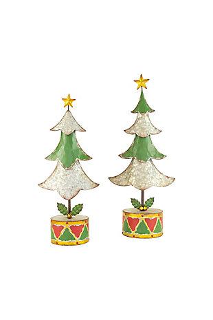 Christmas Set of Two Painted Metal Christmas Trees, , large