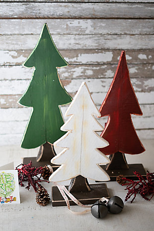 Christmas Set of Three Painted Wooden Christmas Trees - One Each Color, , rollover