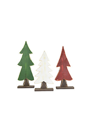 Christmas Set of Three Painted Wooden Christmas Trees - One Each Color, , large