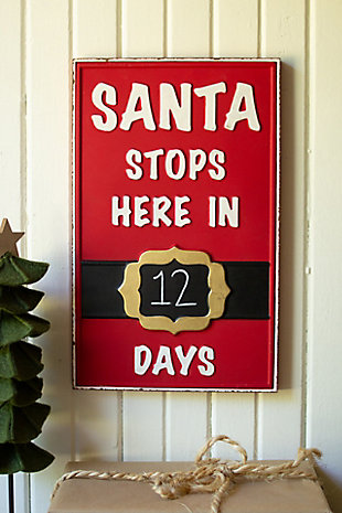 Christmas Santa Stops Here Sign, , rollover