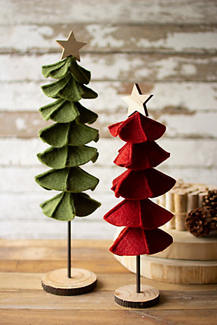 Christmas Set of Two Felt Christmas Trees, , rollover