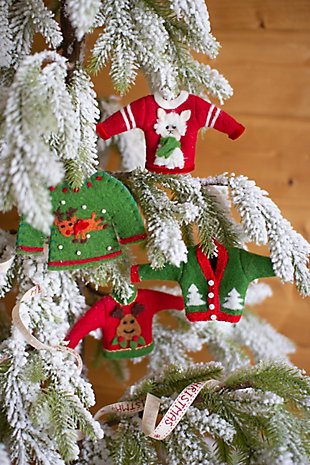 Christmas Set of Four Ugly Christmas Sweater Ornaments, , large