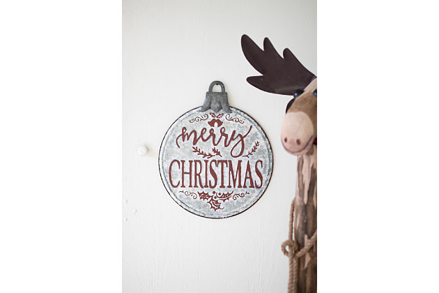 Christmas Painted Metal Merry Christmas Ornament Sign, , large