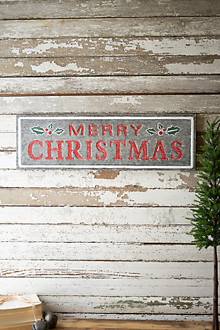 Christmas Painted Metal Merry Christmas Sign, , rollover