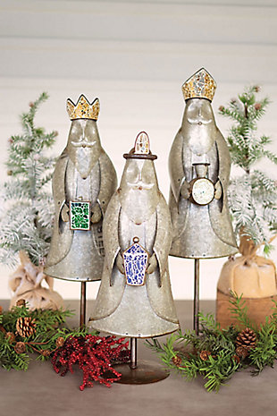 Christmas Set of Three Galvanized Kings with Mosaic Glass Detail, , large