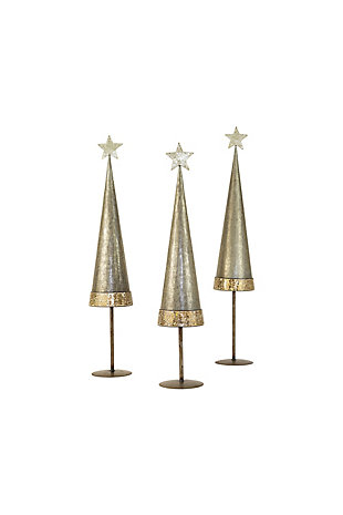 Christmas Set/3 Galvanized Christmas Trees W Mosaic Glass Detail, , large