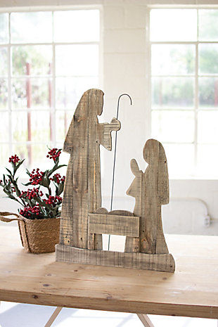 """Christmas 30"""" Tall Wooden Nativity with Stand, , rollover"""