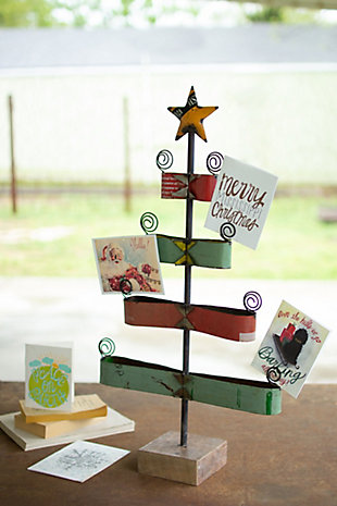 Christmas Recycled Metal Ribbon Christmas Tree Card Holder, , rollover