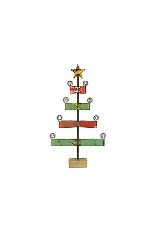 Christmas Recycled Metal Ribbon Christmas Tree Card Holder, , large