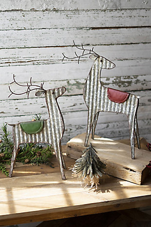Christmas Set of Two Metal Reindeer, , large