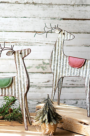 Christmas Set of Two Metal Reindeer, , large
