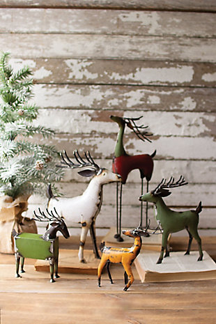 Christmas Set of Five Recycled Deer - One Each Design, , rollover
