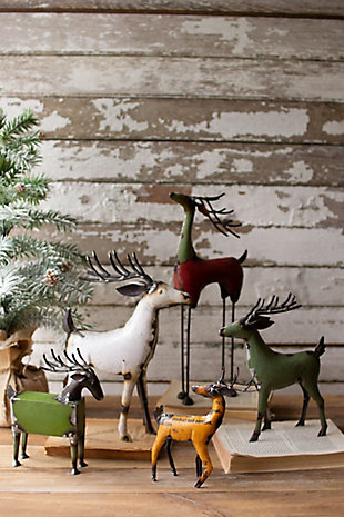 Christmas Set of Five Recycled Deer - One Each Design, , large