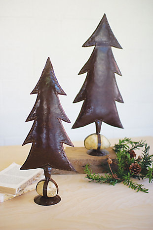 Christmas Set of Two Rustic Metal Trees On Caged Rock Bases, , rollover