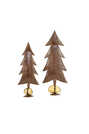 Christmas Set of Two Rustic Metal Trees On Caged Rock Bases, , large