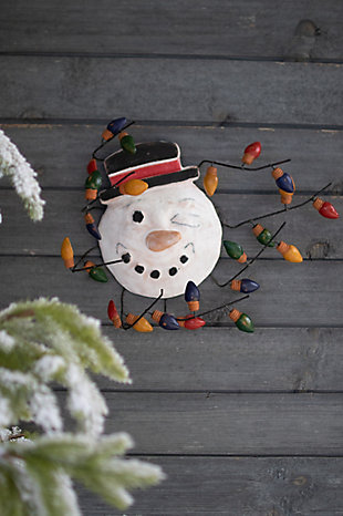 Christmas Clay Snowman with Christmas Bulbs Wall Hanging, , rollover