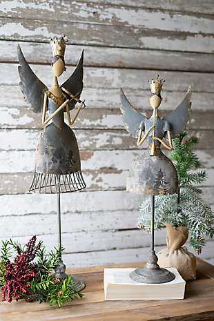 Christmas Set of Two Metal Angels Playing Musical Instruments, , rollover