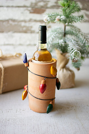 Christmas Clay Vase with Christmas Bulb Wrap, , rollover