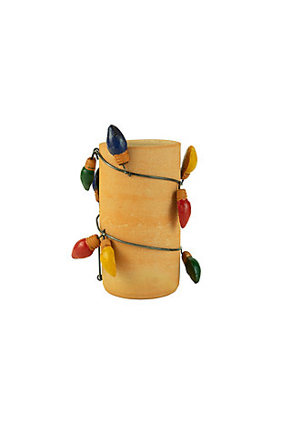 Christmas Clay Vase with Christmas Bulb Wrap, , large
