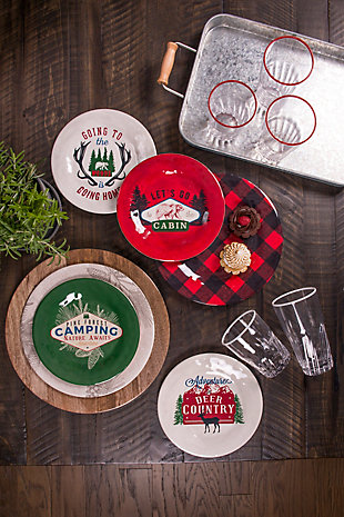 Christmas TarHong Vintage Lodge Camping Salad Plate (Set of 6), , rollover