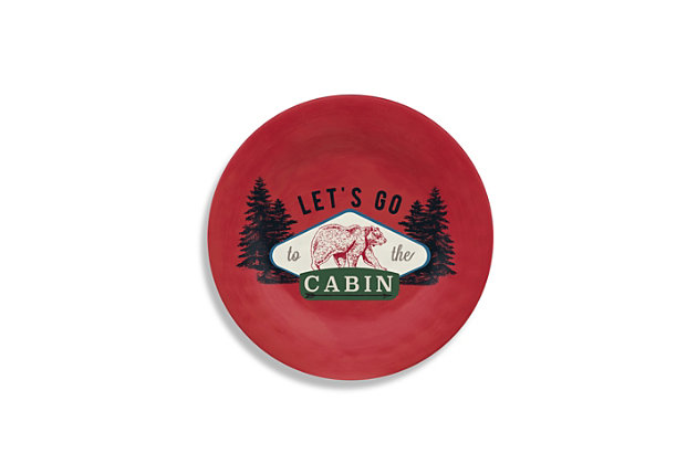 Christmas TarHong Vintage Lodge Cabin Salad Plate (Set of 6), , large