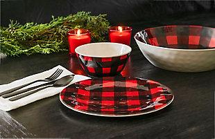 Christmas TarHong Vintage Lodge Buffalo Check Dinner Plate (Set of 6), , large