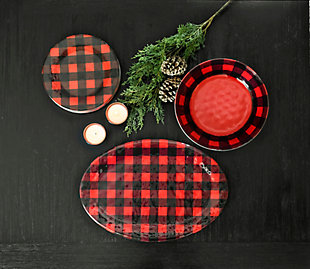 Christmas TarHong Vintage Lodge Buffalo Check Oval Platter, , rollover