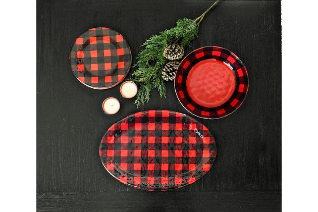 Christmas TarHong Vintage Lodge Buffalo Check Oval Platter, , large