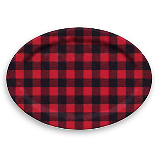 Christmas TarHong Vintage Lodge Buffalo Check Oval Platter, , large