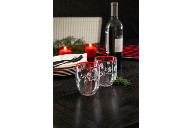 Christmas TarHong Holiday 15 oz Cozy Premium Plastic Glass (Set of 6), , large