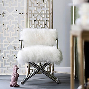 AB Home Mongolian Fur Director's Chair Silver, , rollover