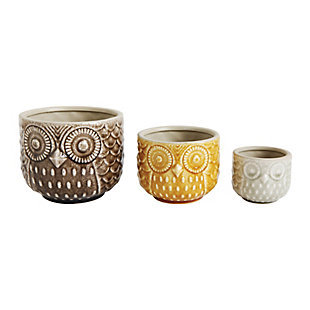 Harvest Owl Stoneware Pots, Set of 3, , large