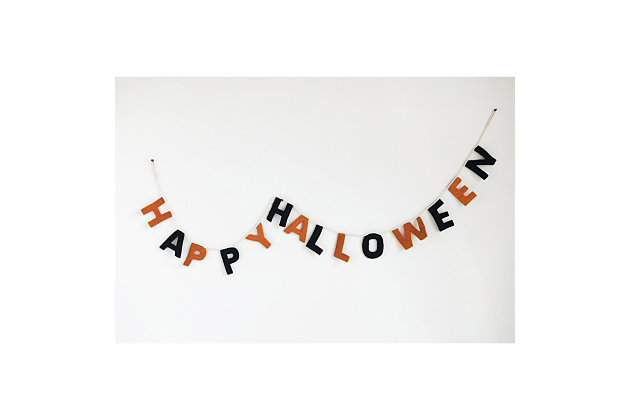 "Halloween  90"" Wool Felt ""Happy Halloween"" Banner, , large"