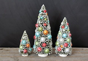 Christmas Bottle Brush Christmas Trees with Ornaments Set of 3 Sizes, , rollover